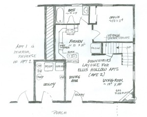 Ellis Hollow apartment floorplan downstairs